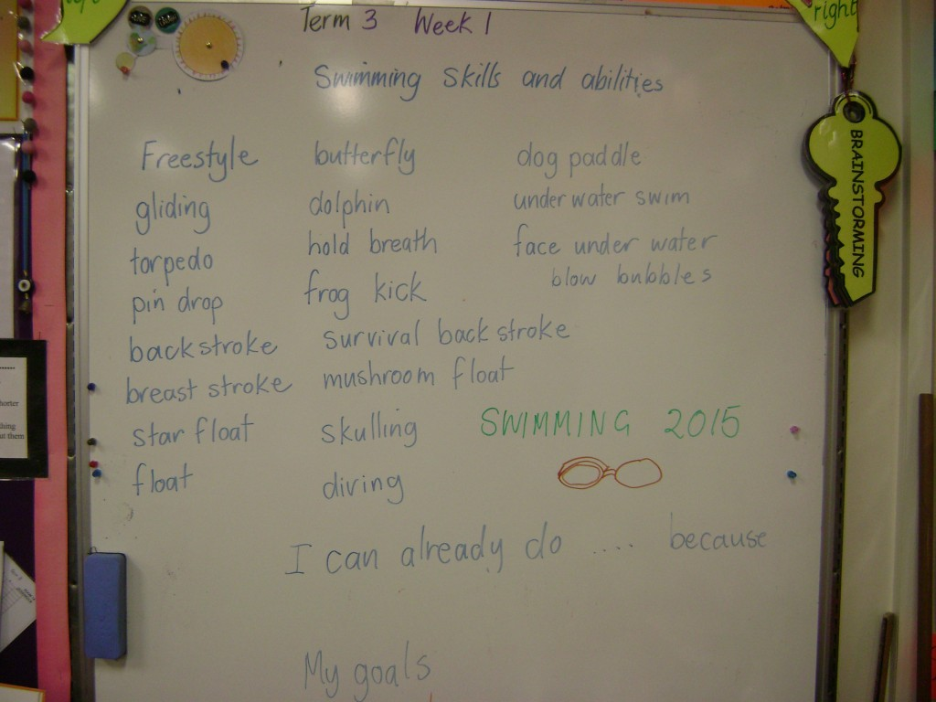 Our Swimming skills brainstorm