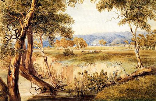 City of Adelaide from Mr Wilson's Section on the Torrens, June 1845, G. F. Angas (AGSA Collection)